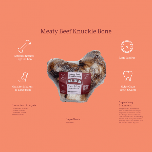 Rollover Premium Pet Food - Product ID 139 - Meaty Beef Knuckle Bone - 65-400-1 - Infographic