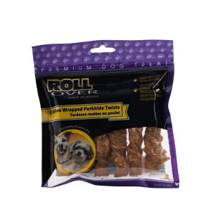 Rollover Premium Pet Food - 154 - Chicken Wrapped Porkhide Twists - 6pk PH-90P-6